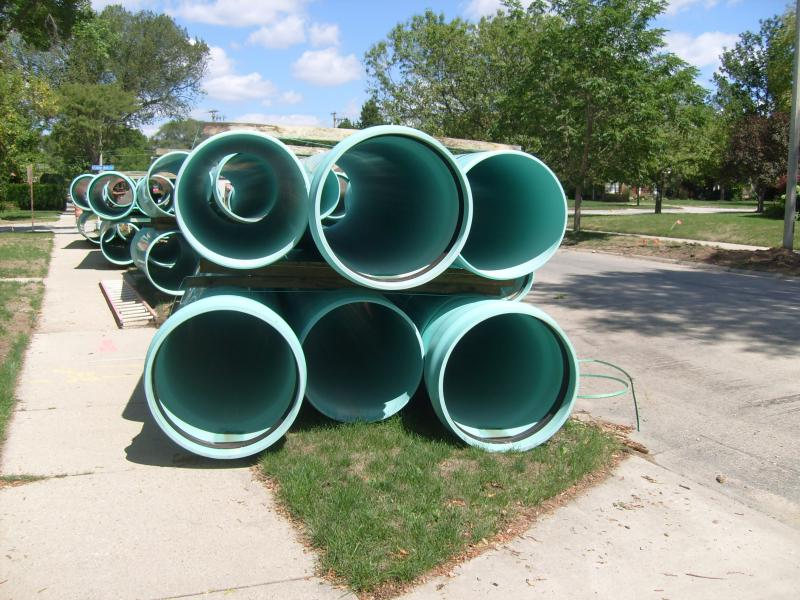 Sewer Pipes Await Installation in Wauwatosa