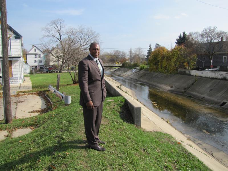 Steven L. Mahan along the KK.  Mahan leads Milwaukee's community grants program.