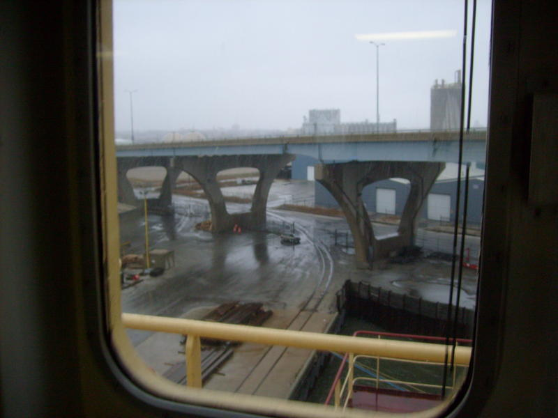 View of Hoan Bridge from inside a freighter