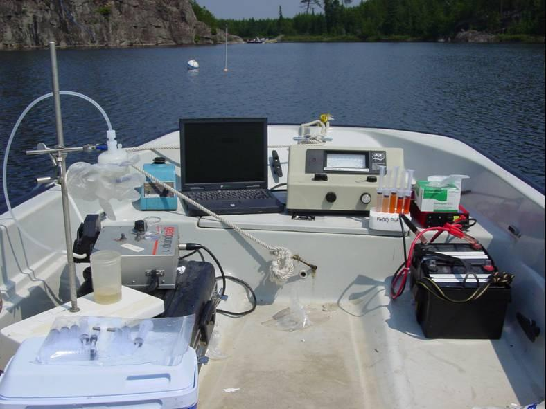 UW-Madison and Canadian scientists applied stable (non-radioactive) mercury isotopes in Lake 658 by slowly dripping a dilution into the propeller wash of a small boat. The process began at dusk because bright sunlight can cause the isotopes to vaporize.