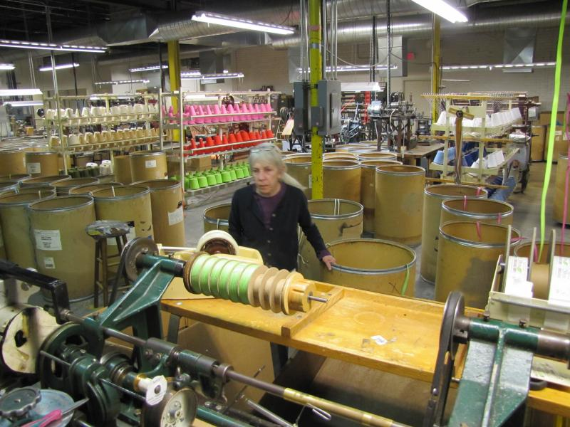 Hart can run two machines at a time to create tens of thousands of ribbon in a day's time.