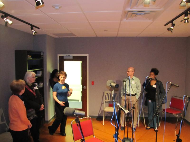 Cynthia Akey with volunteers in the Performance Studio