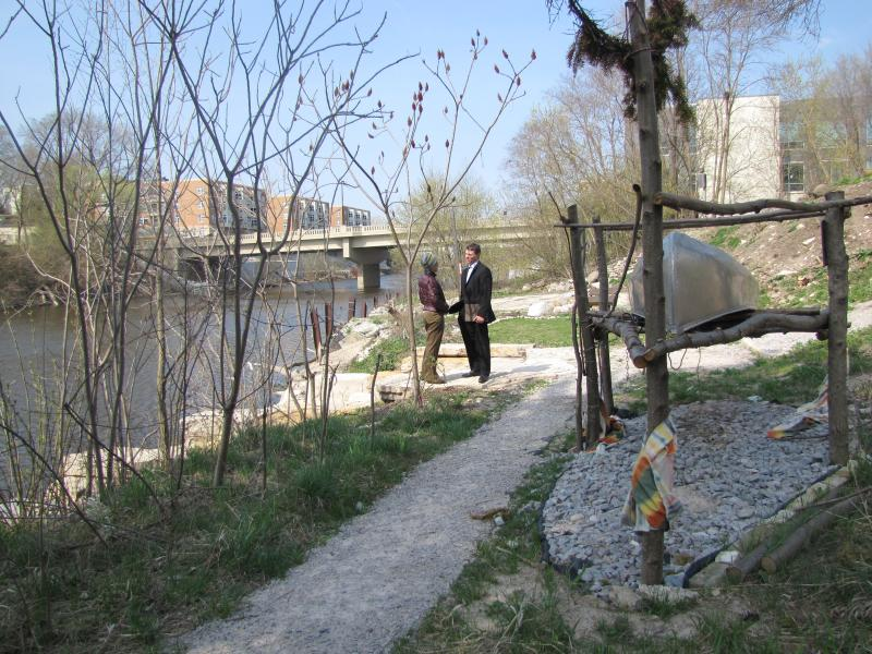 Upstream, a blending of Stewardship and local funds create a public canoe launch and green space.
