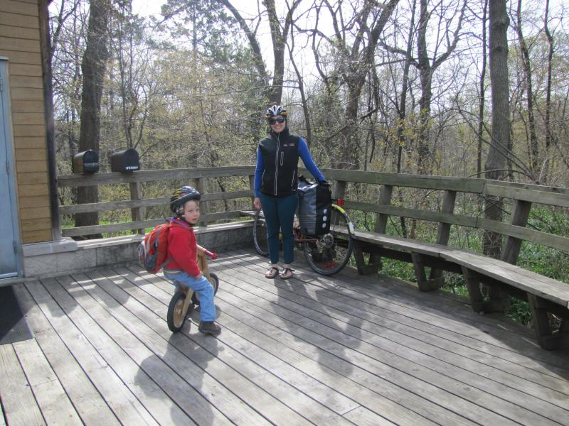 After delivering her son safely to school; Binder jumps on Oak Leaf Trail.  Hers is about a 14-mile roundtrip commute.
