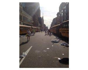 Boston Marathon buses after the explosions.