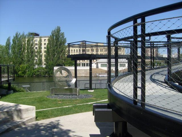 The city has converted former stub ends of streets into new green space along the Milwaukee River.