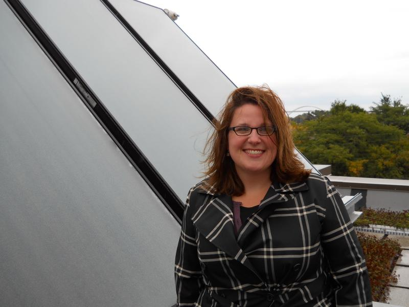 Amy Heart was my central Wisconsin renewable energy history guide.  She is solar program manager with Milwaukee's Office of Environmental Sustainability.  This solar thermal installation was funded in part through the Milwaukee Shines program.