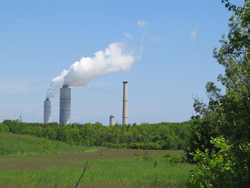 The power plant located a few miles north of the Center.