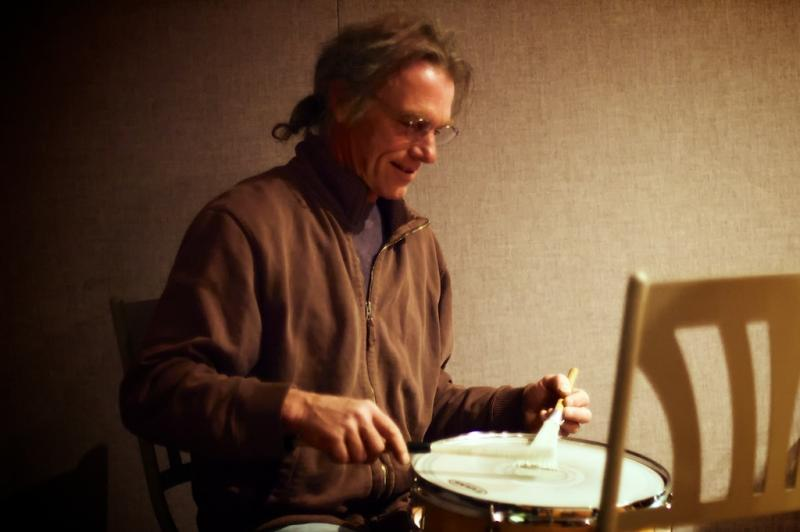 Billy Conway plays a single snare drum in the Lake Effect studio.
