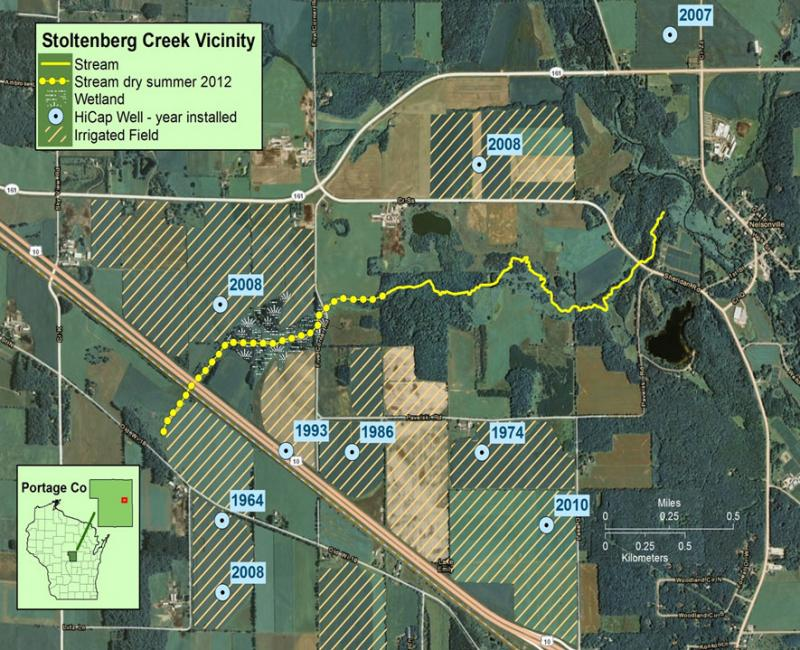 Map of Stoltenberg Creek, High Capacity Wells and Irrigated Fields