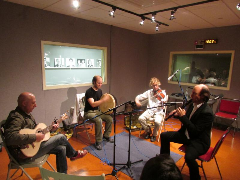 Carlos Núñez ensemble in Lake Effect studio.