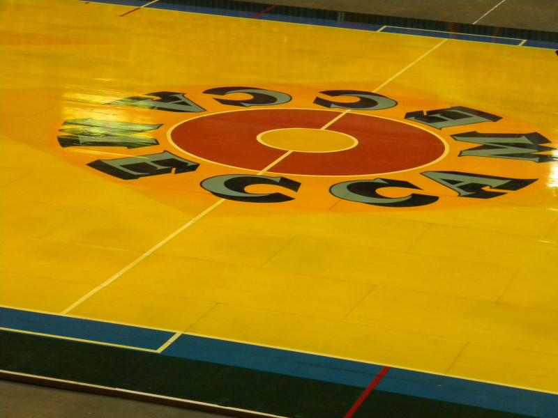 A close-up of Robert Indiana's pop art, painted playing surface from the former MECCA Arena (now U.S. Cellular arena).