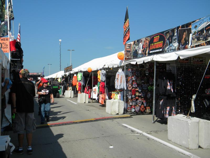 Souveniers and other Harley Davidson merchandise are on display for festival goers.