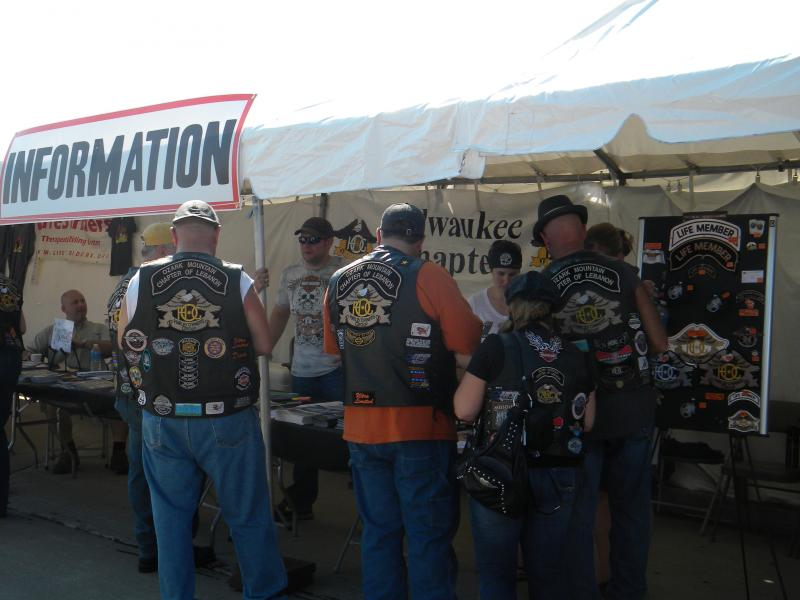 Harley lovers pick up their information for the festival.