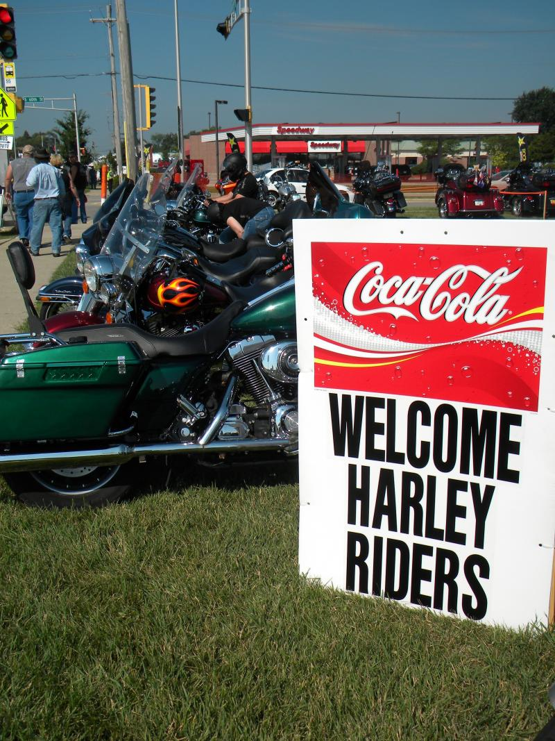 Harley-Davidson enthusiasts gather for the company's 110th anniversary celebration.