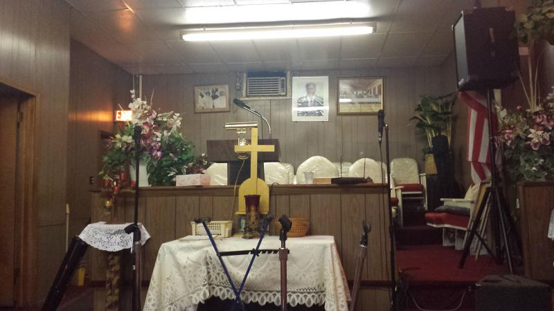 The Masonic Wonders' rehearsal space at the Newborn Christ Baptist Church at 17th and Center