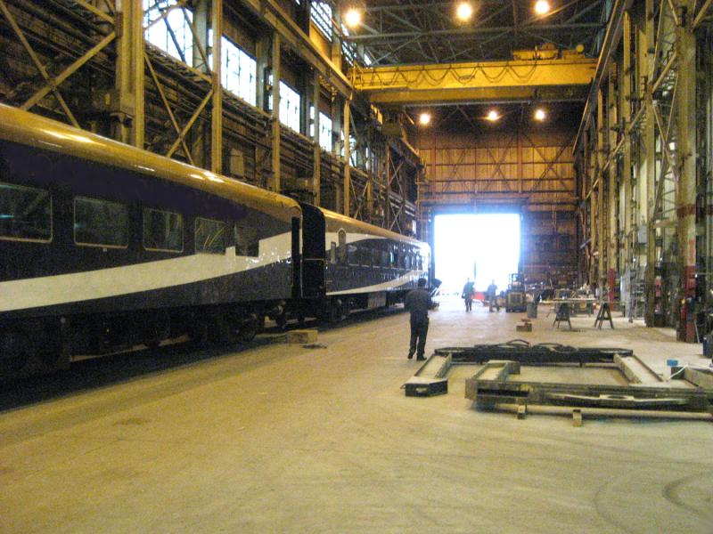 A train car gets rehabbed at the Avalon Rail shop in West Allis.