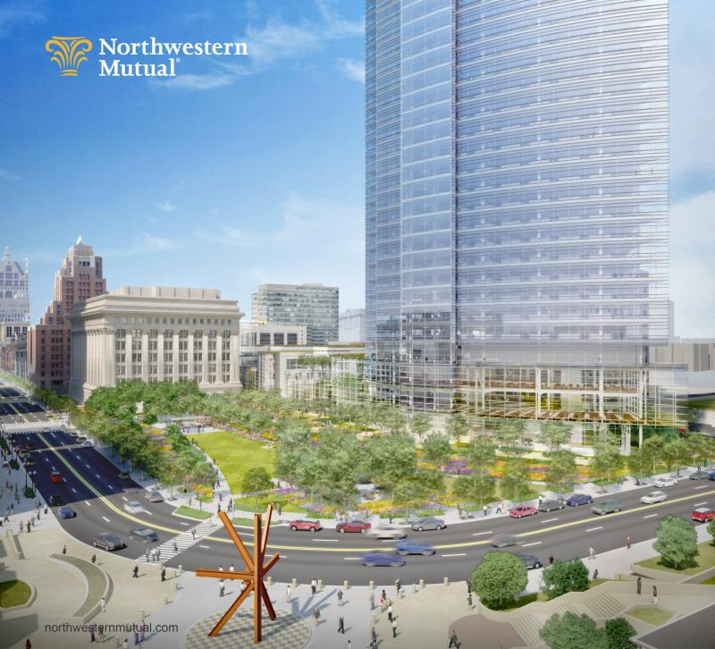 Rendering of Northwestern Mutual Tower and Commons