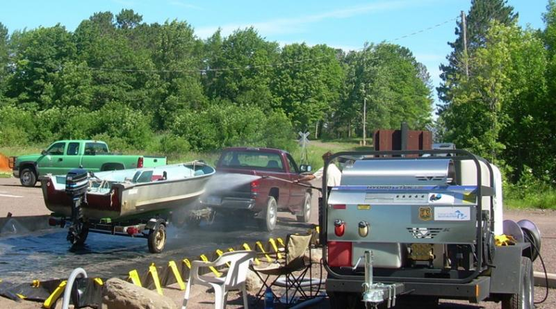 Cleaning boats that have been in forest streams before they enter the Great Lakes is important to prevent the spread of invasive species.