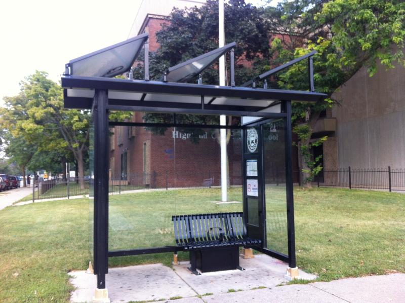 Bus stop located on N. 17th St. and W. Highland Ave. in Milwaukee