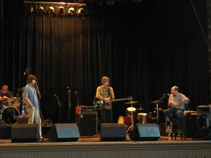 Lead singer Rhett Miller, bassist Murry Hammond and Lake Effect's Mitch Teich on stage at Turner Hall