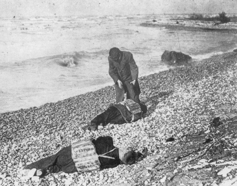 Victims of the Great Lakes Storm of 1913 washed ashore.