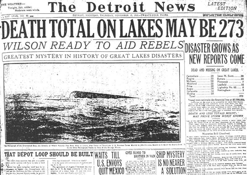"The Detroit News' headline from Nov. 13, 1913, reveals the great destruction caused by the Great Lakes ""hurricane."""
