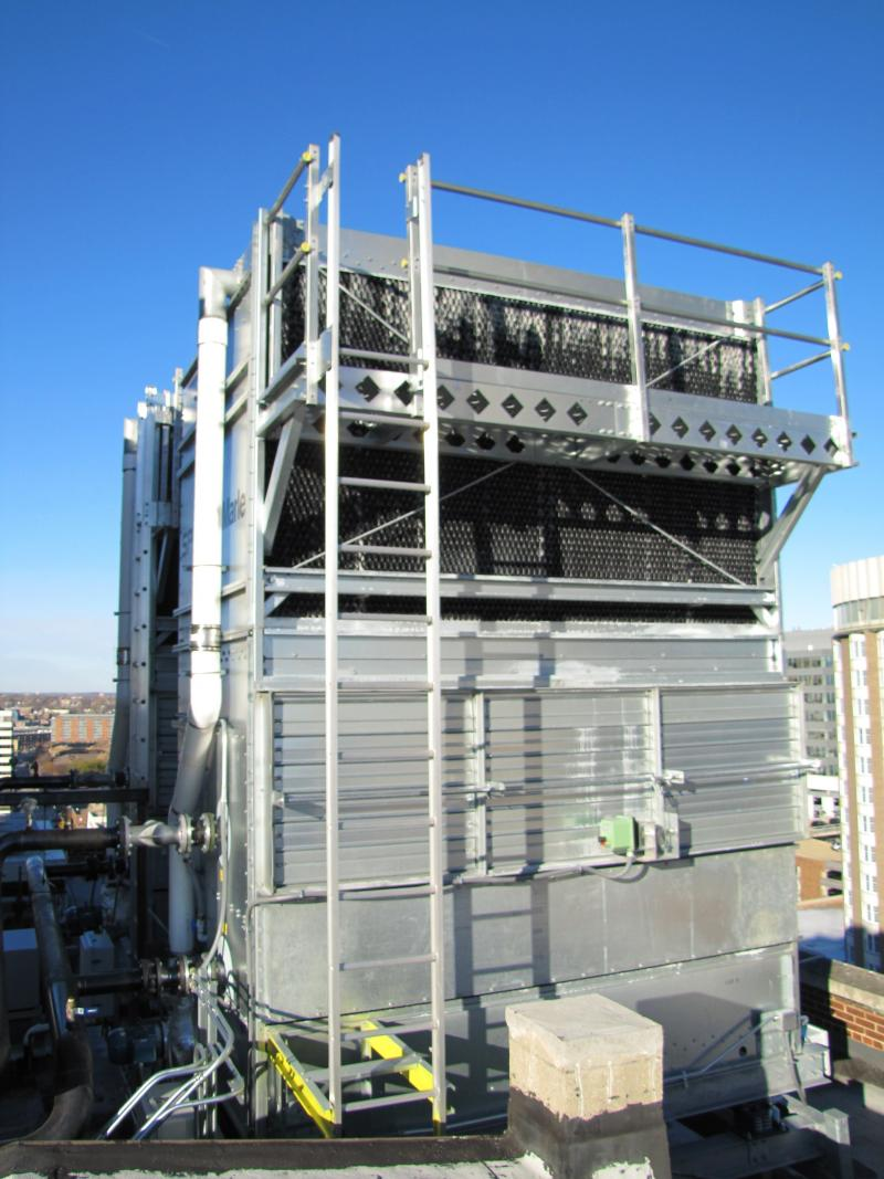 Rooftop fluid coolers - part of HVAC improvements at the Wells.