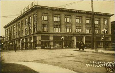 An old postcard of Lauerman's in Marinette, Wis.