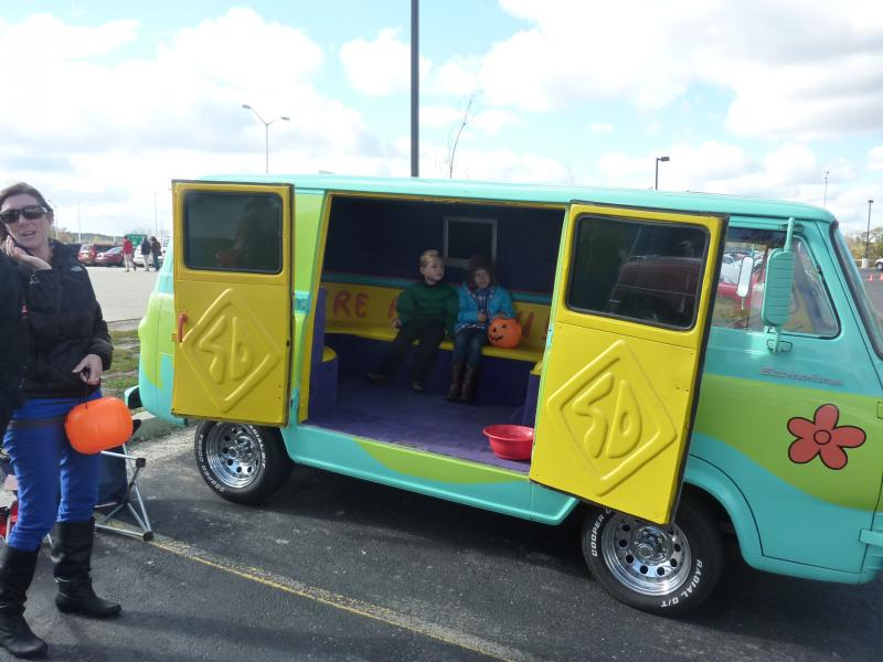 "Peyton and Sienna Johnson inside the ""Mystery Machine"" at the trunk-or-treat event at the car-themed restaurant Quaker Steak and Lube in New Berlin on Saturday, Oct. 26th."