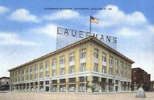 A postcard of Lauerman's in Marinette, Wis., circa 1910