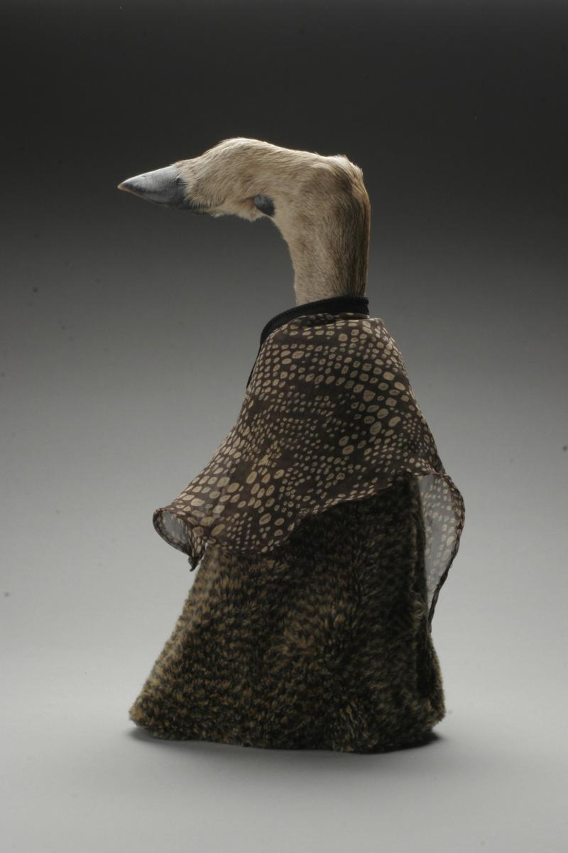 Artist Beverly Gordon turned a found deer's hoof into the model for a fabric cape.