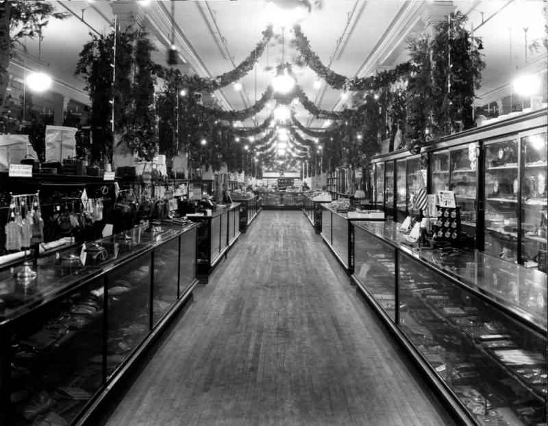The jewelry and accessories department of Lauerman Brothers Department Store, circa 1920, decorated for the holidays