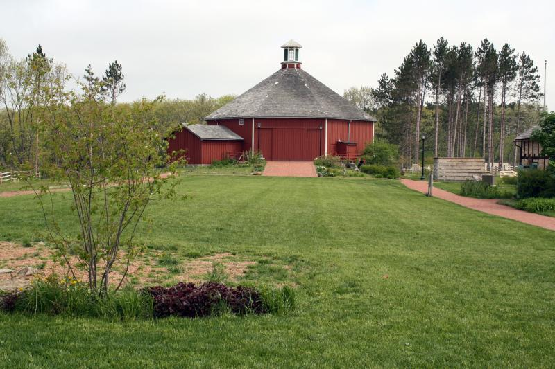 Visitor mall and Clausing Barn at Old World Wisconsin