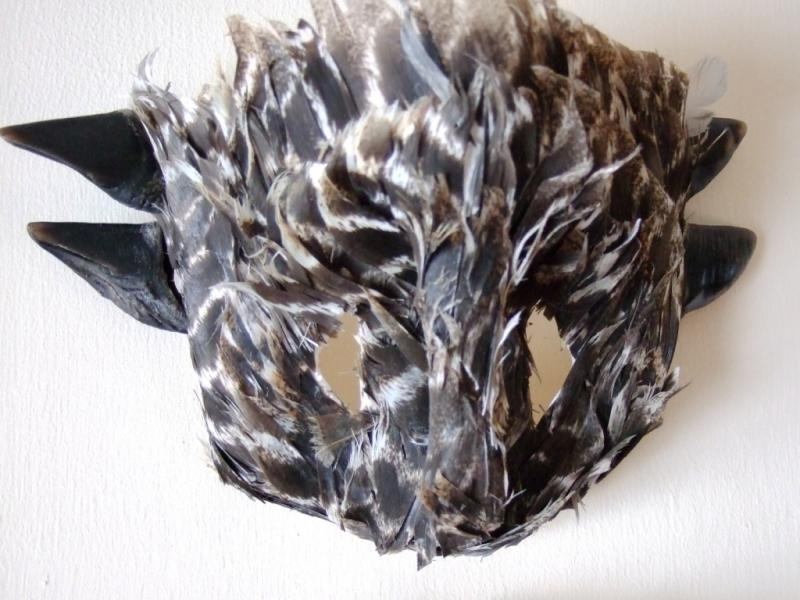 Artist Beverly Gordon found these feathers and turned them into a mask.