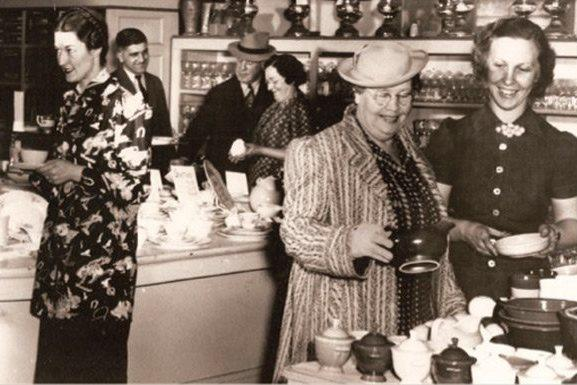 People shopping in Lauerman Brothers Department Store in Marinette, Wis.
