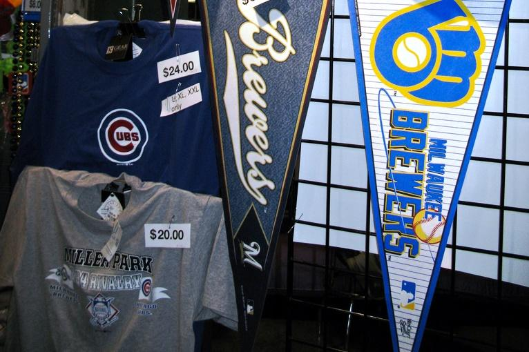 Merchandise sold at Milwaukee Brewers game