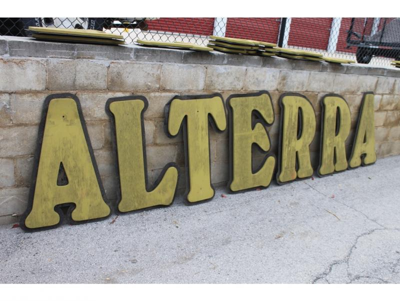 Large, wooden letters from Alterra on Humboldt Blvd.
