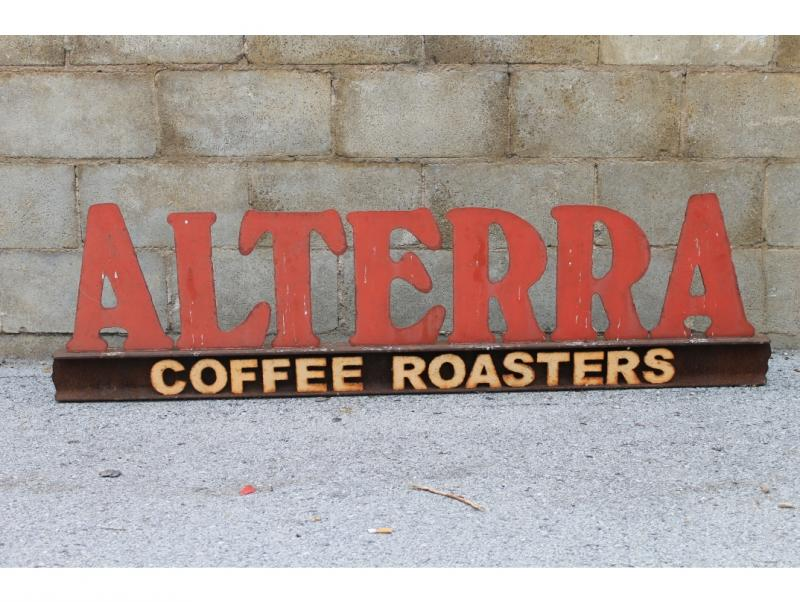 Cast-iron Alterra Coffee Roasters sign, was up for 10 years at Alterra at the Lake.