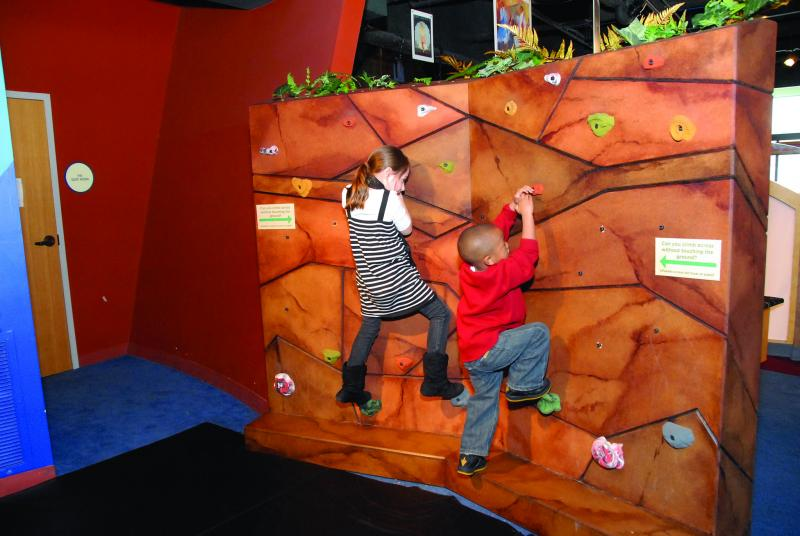 "Rock wall climbing at ""Smokey Bear and Woodsy Owl: Home Sweet Home"" at the Betty Brinn Children's Museum."