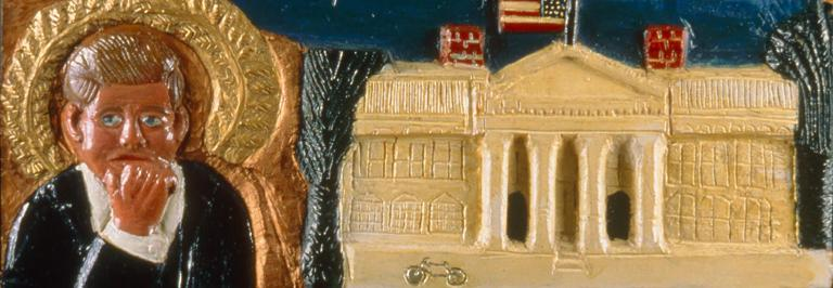 Tribute to John F. Kennedy, 1970s, Carved wood relief, enamel paint