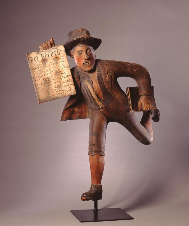 The Newsboy, 1888 Carved, assembled and painted wood with folded tin