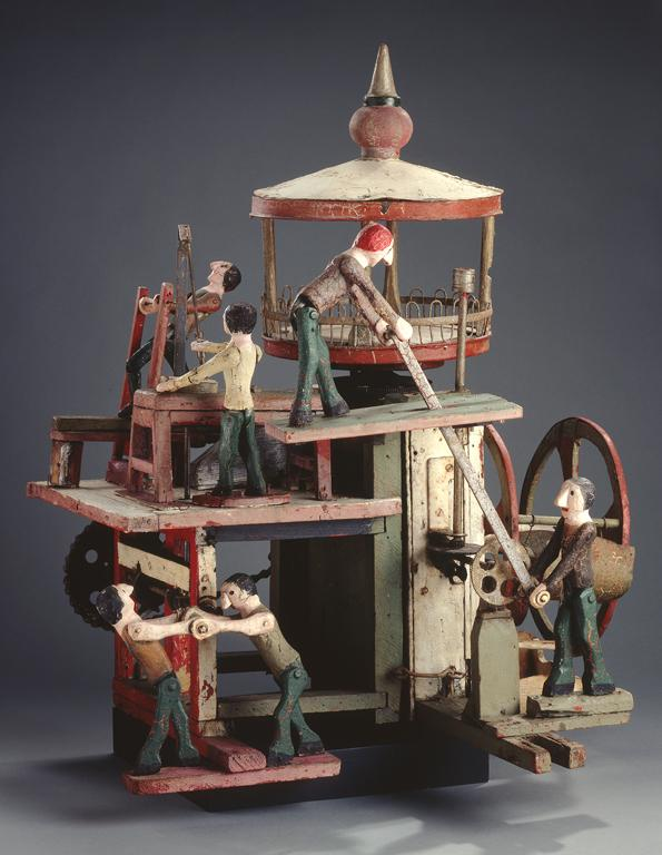 The World of Work, ca. 1940, Carved and painted metal gears and metal crank