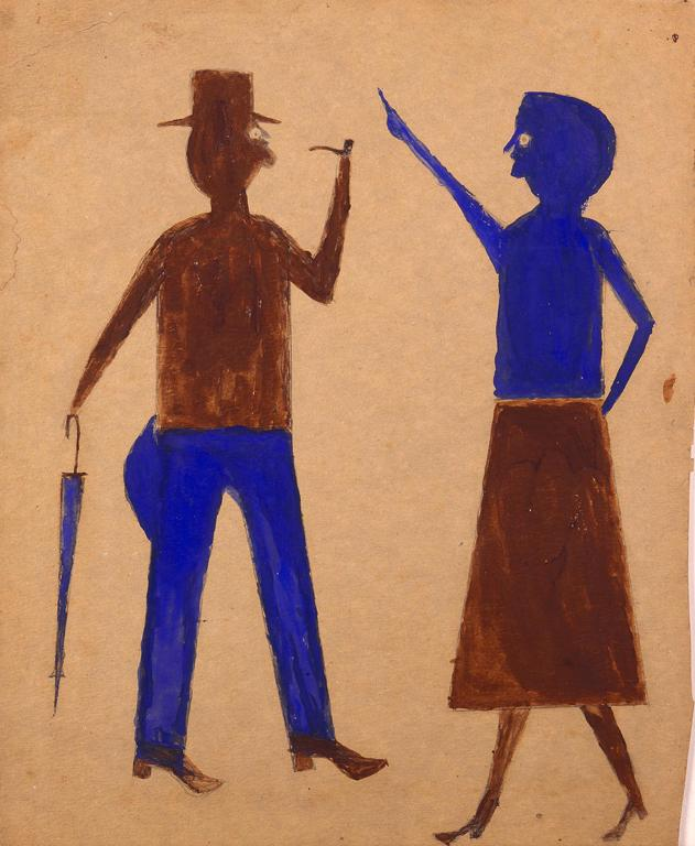 Talking Couple, ca. 1940 Brown and blue tempera paint over pencil on cardboard