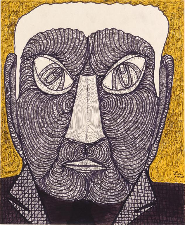 Demonic Visage, ca. 1980, Ballpoint pen and marker over pencil on paperboard