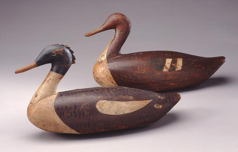 Common Mergansers (Drake & Hen), ca. 1900 , Carved and painted wood, lead weight, nails, metal loop