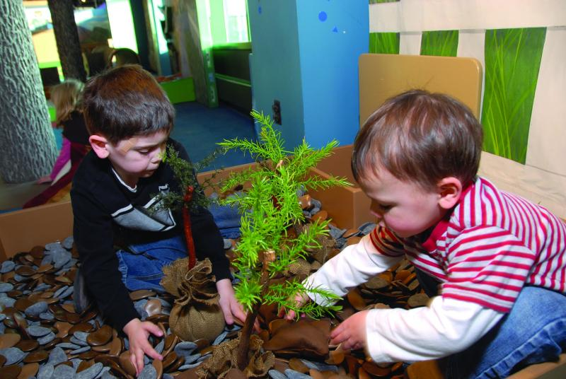 "Planting trees at ""Smokey Bear and Woodsy Owl: Home Sweet Home"" at the Betty Brinn Children's Museum."