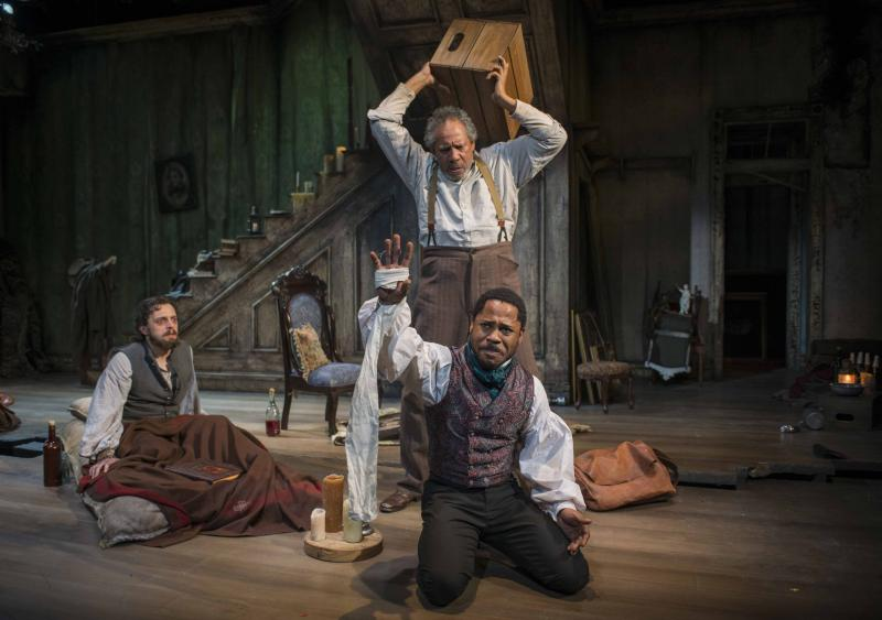 (L – R) Josh Landay, James Craven (standing) and Ro Boddie in Milwaukee Repertory Theater's 2013/14 Stiemke Studio production of The Whipping Man.