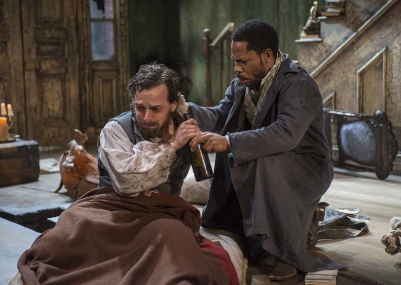 Josh Landay and Ro Boddie in Milwaukee Repertory Theater's 2013/14 Stiemke Studio production of The Whipping Man.