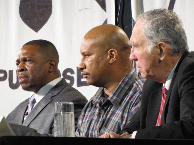 Panelists Mark Evans, Torre Jackson and E. Michael McCann